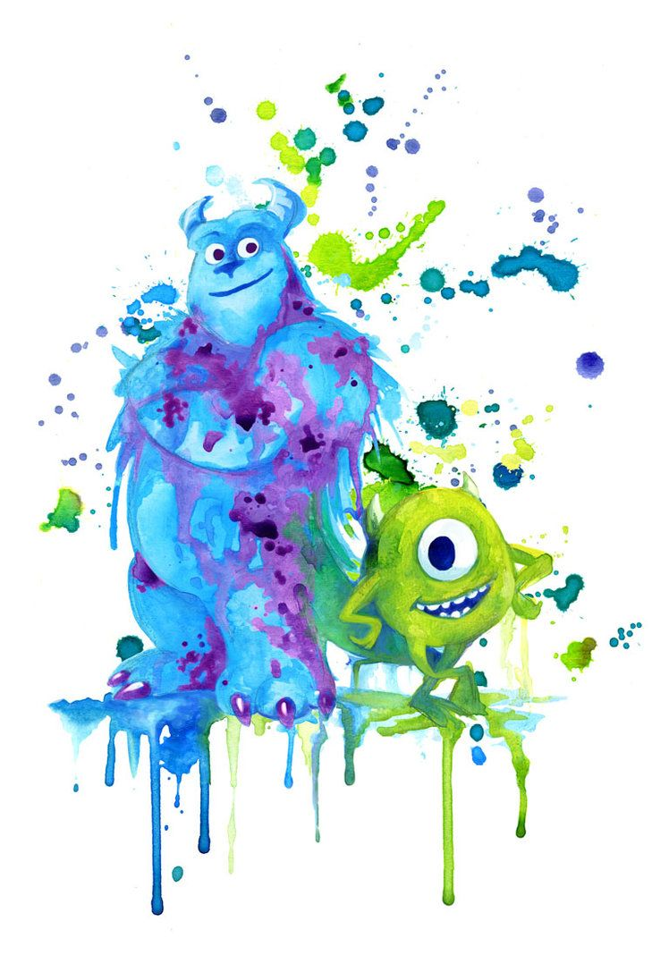 Wallpaper iphone tumblr monster inc - Monsters Inc_sully Mike Watercolor Painting