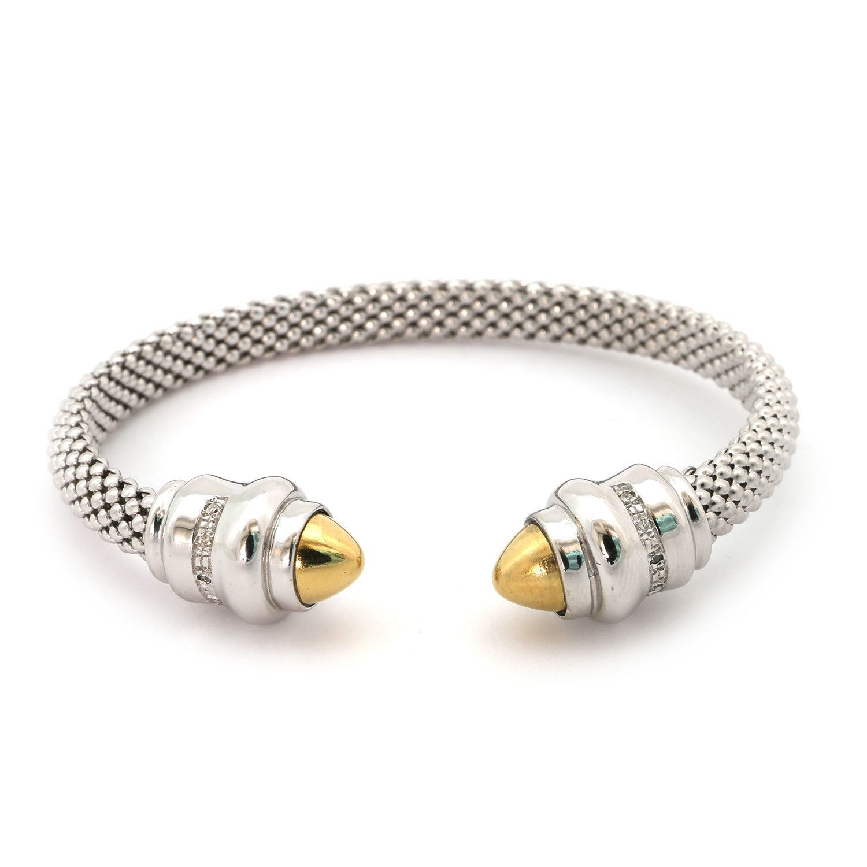 Phillip Gavriel 18k Yellow Gold & Sterling Silver .10ct White Diamonds Popcorn Cuff Bracelet