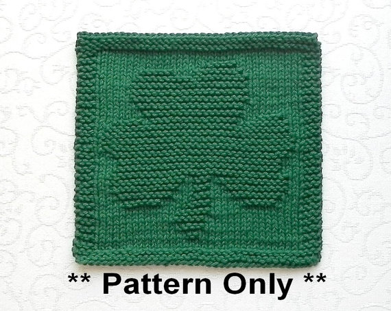 Shamrock Knit Pattern Instant Download Knit Dish Cloth Pattern