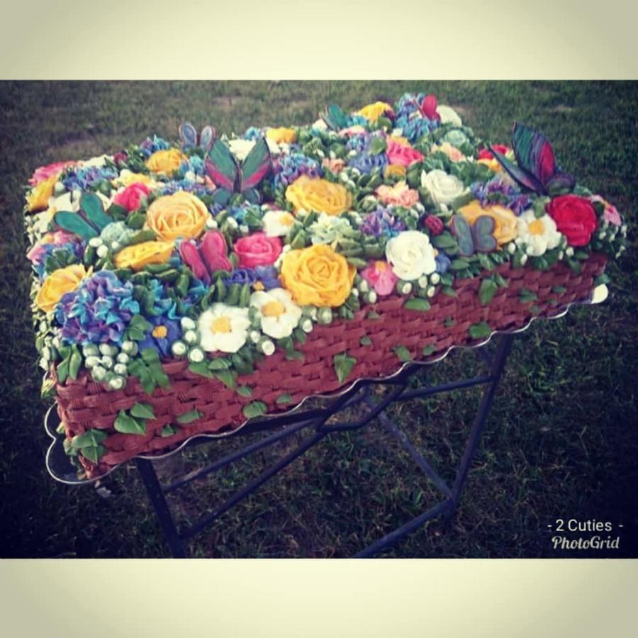 Basket of flowers by amyanddesycakes flower basket