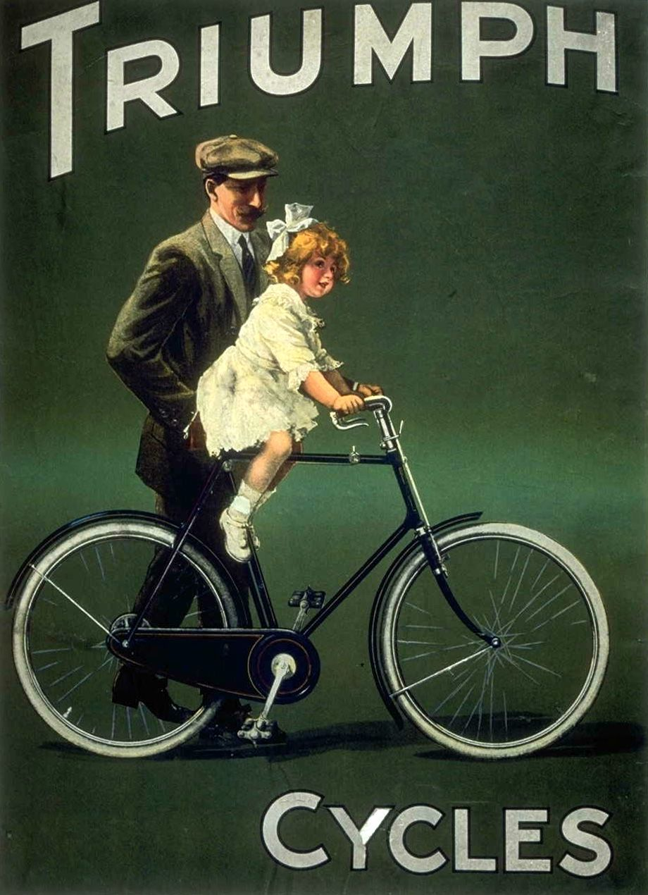 Vintage Old Triumph Cycles Bicycle Advertisement Poster Art Print A3 A4