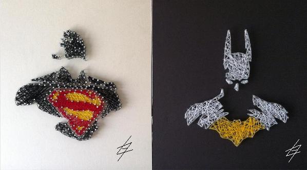 Batman vs. Superman - DC Comics -Trabalho de String art Luno, arte de desenhar com linhas - Criação Luno Gomes - String Art