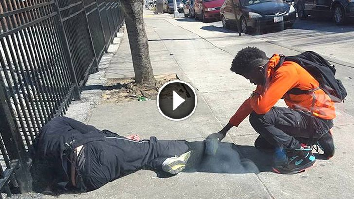 Cop thought this teen was robbing a sleeping homeless man but when he gets closer