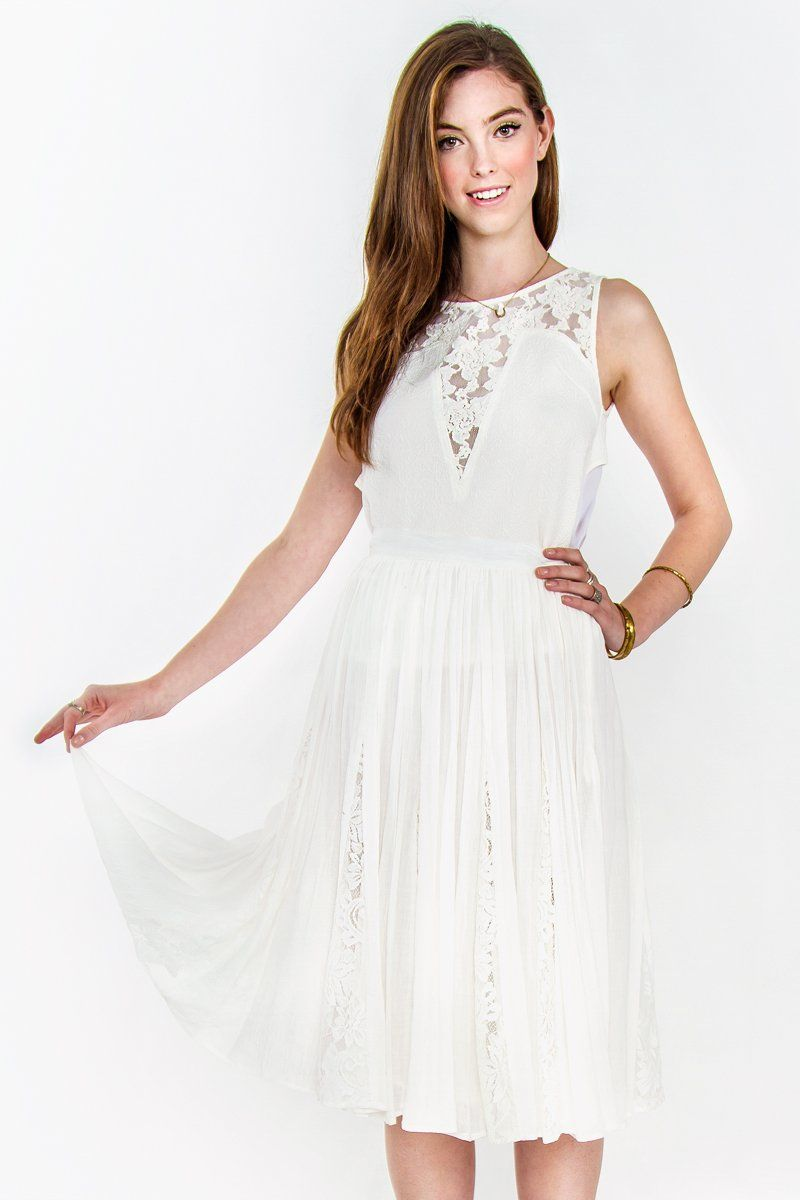 A delightful full midi skirt with pretty lace inset. Gauzy material. Fully lined. Side zipper closure. Pair this with a white eyelet crop top at your next picnic at the park.Fabric:65% Polyester, 35% CottonCare:   Hand Wash OR Wash and Dry in Delicate Cycle mode in Was