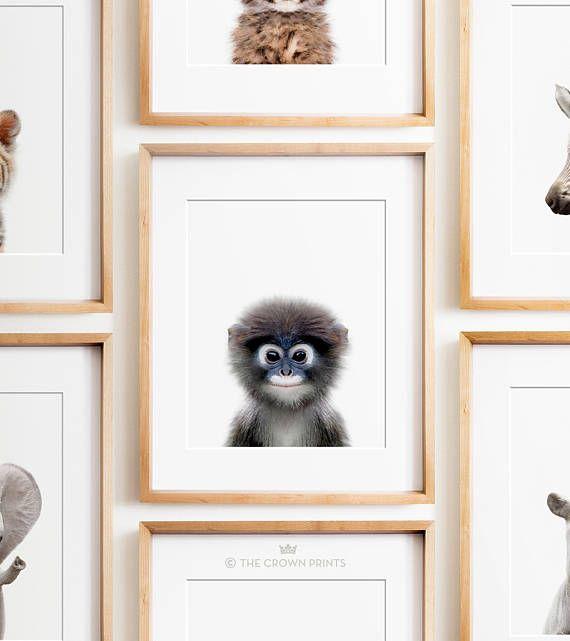 Monkey print Nursery animal print PRINTABLE art Safari