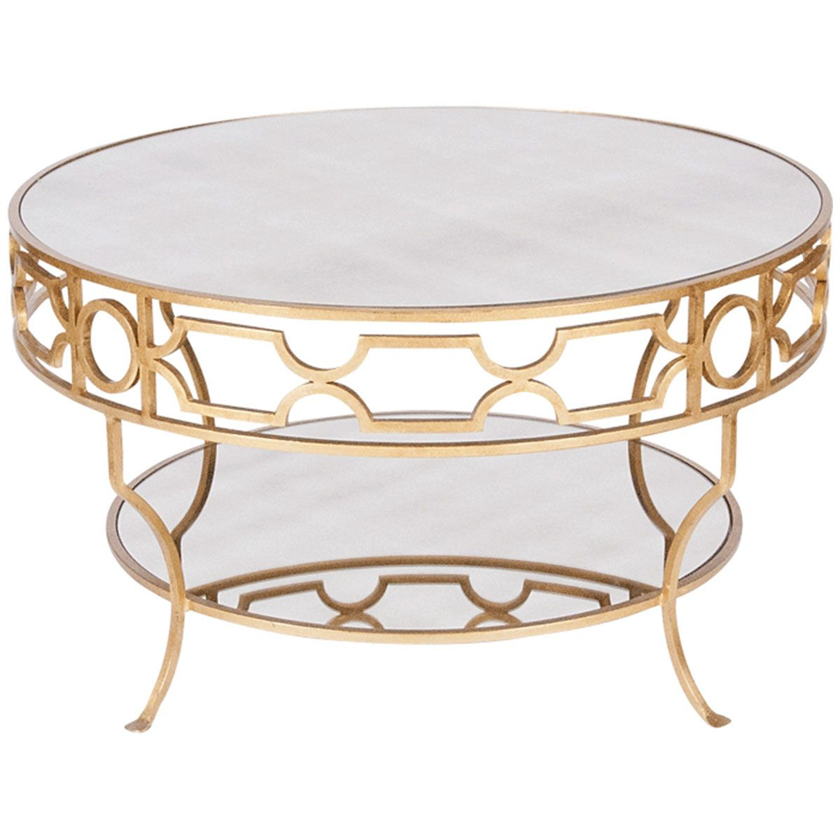 Worlds Away Two Tier Round Gold Leaf Coffee Table With Plain