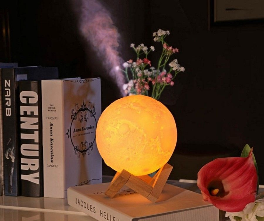 Ultrasonic Air Humidifier 880ml 3d Moon Shaped Lamp Light Aroma Essential Oil Usb Academ Shop Essential Oil Diffuser Humidifier Humidifier Lamp