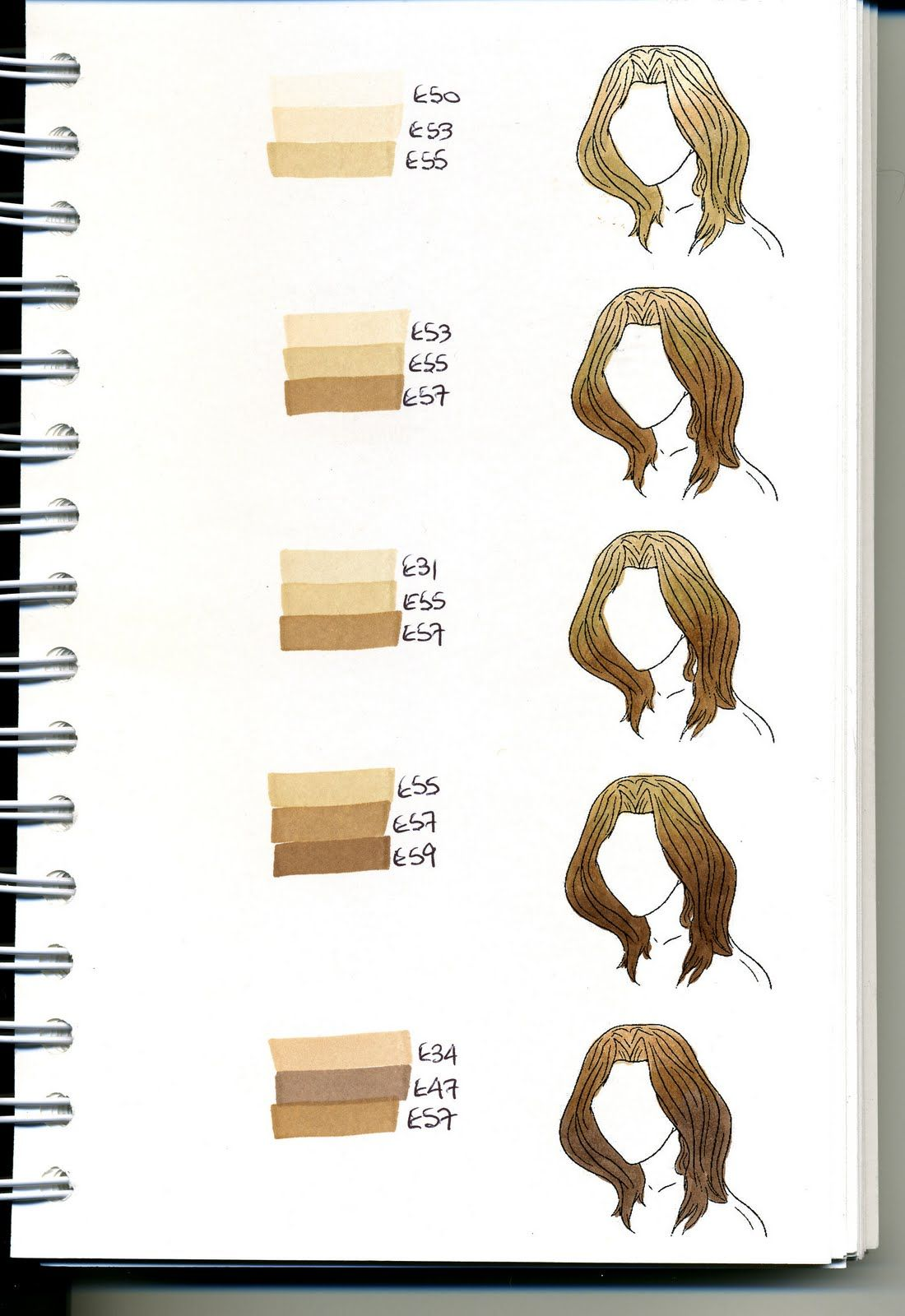 Copic Swatch Book - hair - bjl | Coloring - Copic | Pinterest ...