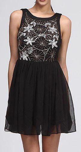 Black Floral Shimmer Dress