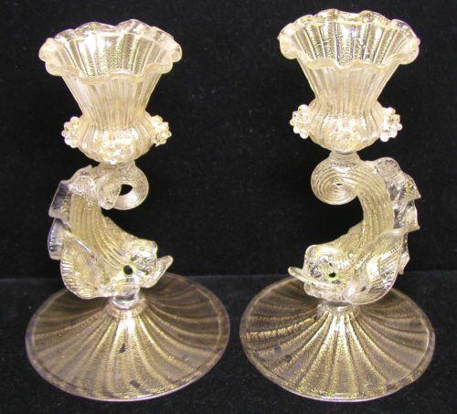 Beautiful Pair of Blown Venetian Glass Dolphin Figural Stem Candlesticks W/Gold