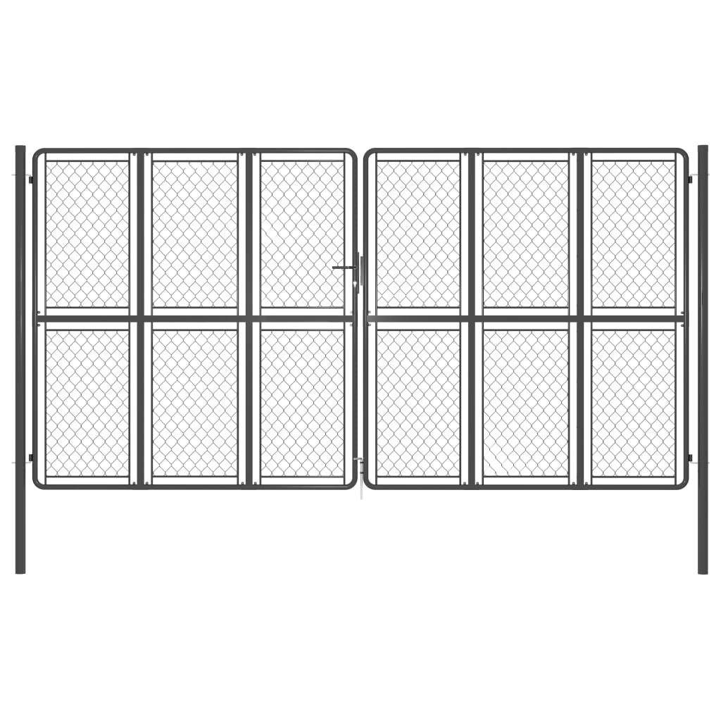 vidaXL garden gate steel 400 x 200 cm anthracite