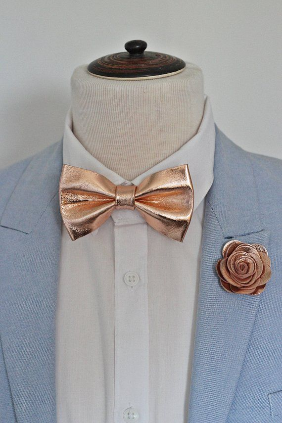 e29407adbc0a Rose Gold leather bow tie for men,boys rose gold wedding bow tie, wedding  boutonnere, genuine gold l