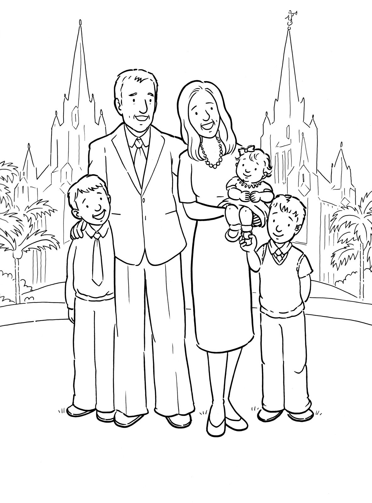 a happy family at the san diego temple a primary coloring page