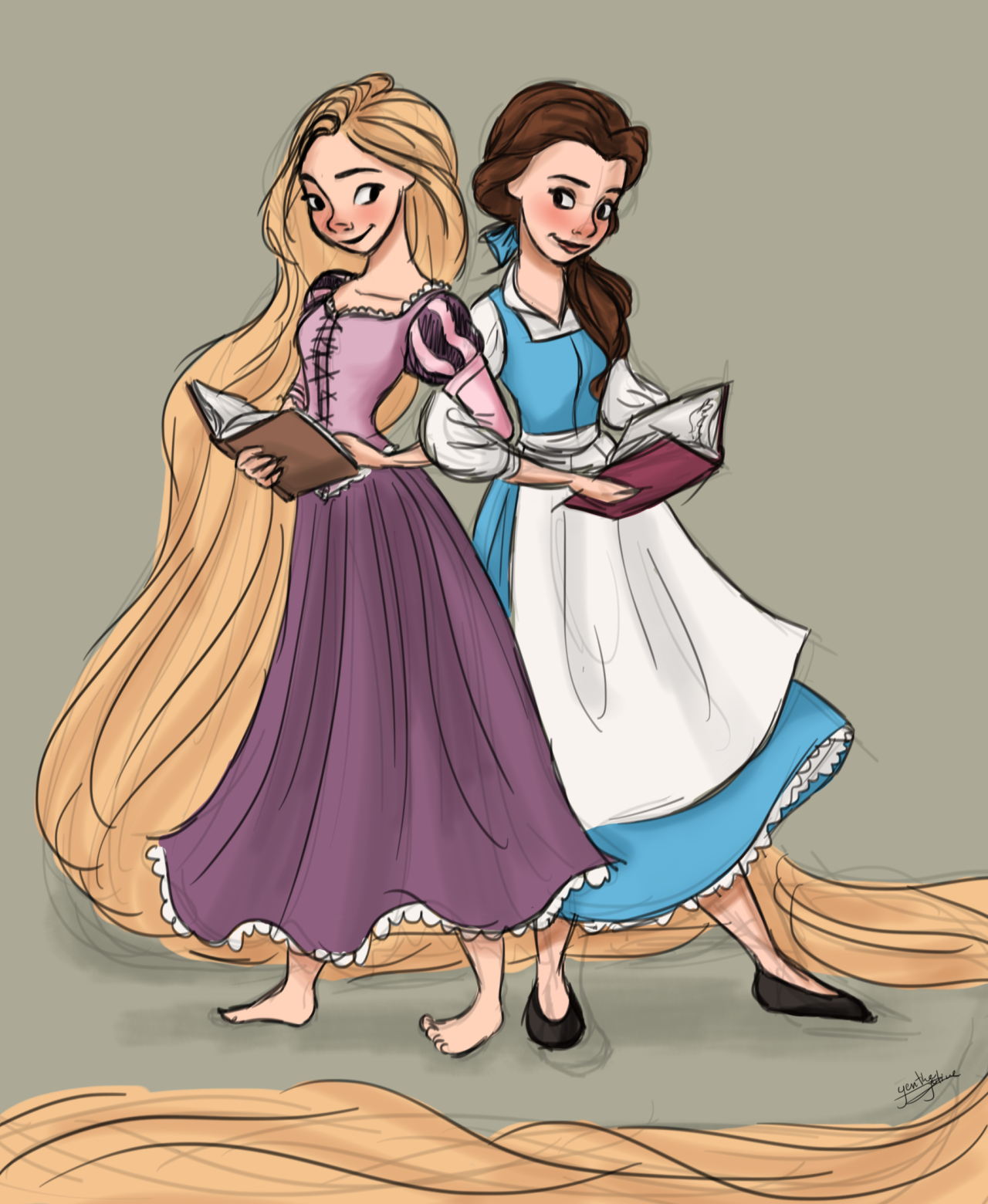 Quick drawing of Belle and Rapunzel in Autodesk Sketchbook Pro. I just feel like they would be really good friends. :)