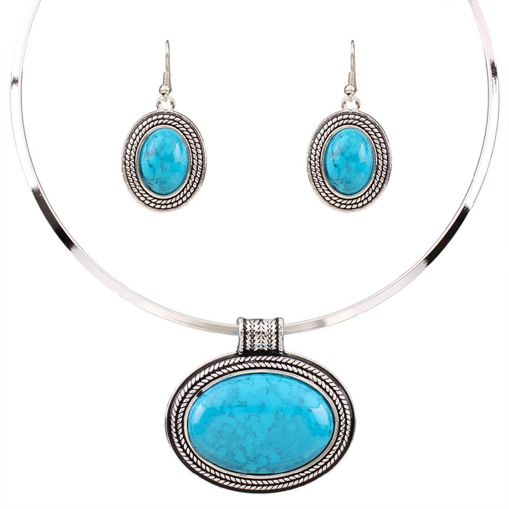 Fashion women jewelry sets oval nature green color turquoise