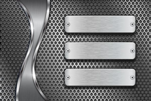 MetallBanner mit perforierten Hintergrund Vektor 05
