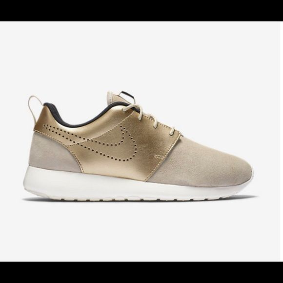 brand new 06aad d3e56 Nike roshe one premium suede Nudebeige and metallic gold. Brand new with  box. Sz 8.5. Sold out in stores! Nike Shoes Sneakers