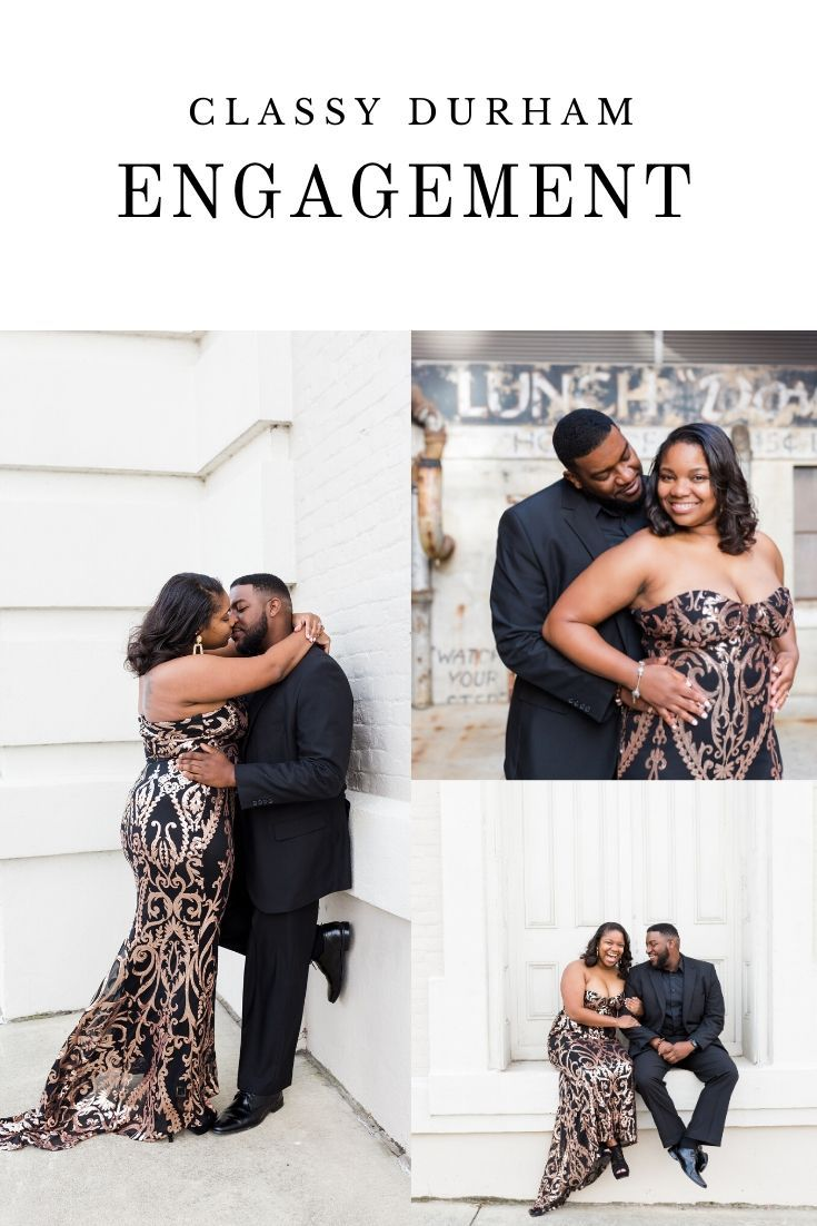 I loved photographing this classy Durham engagement photo session last fall! There are so many great spots for engagement photos in Durham, North Carolina. #durhamengagement #durhamweddingphotographer