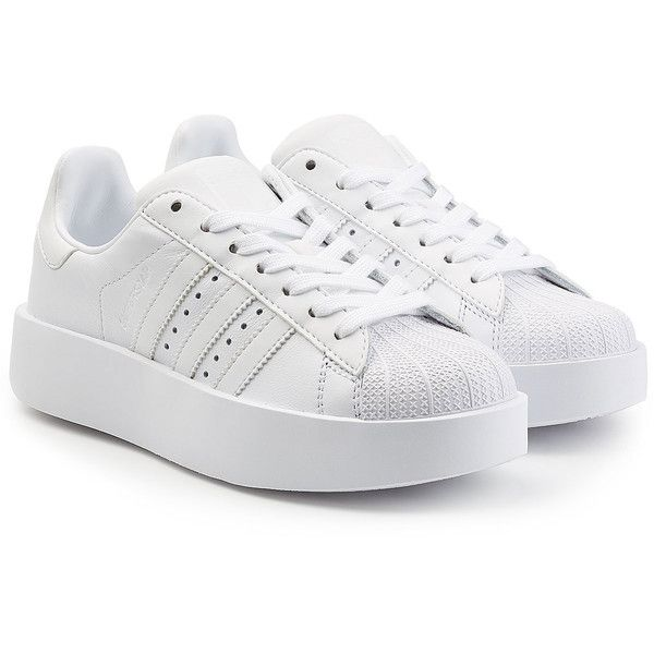 deseo Cortar Bien educado  Adidas Originals Superstar Platform Leather Sneakers ($109) ❤ liked on  Polyvore featuring shoes, sneakers, white,… | Sneakers, Leather sneakers,  White leather shoes