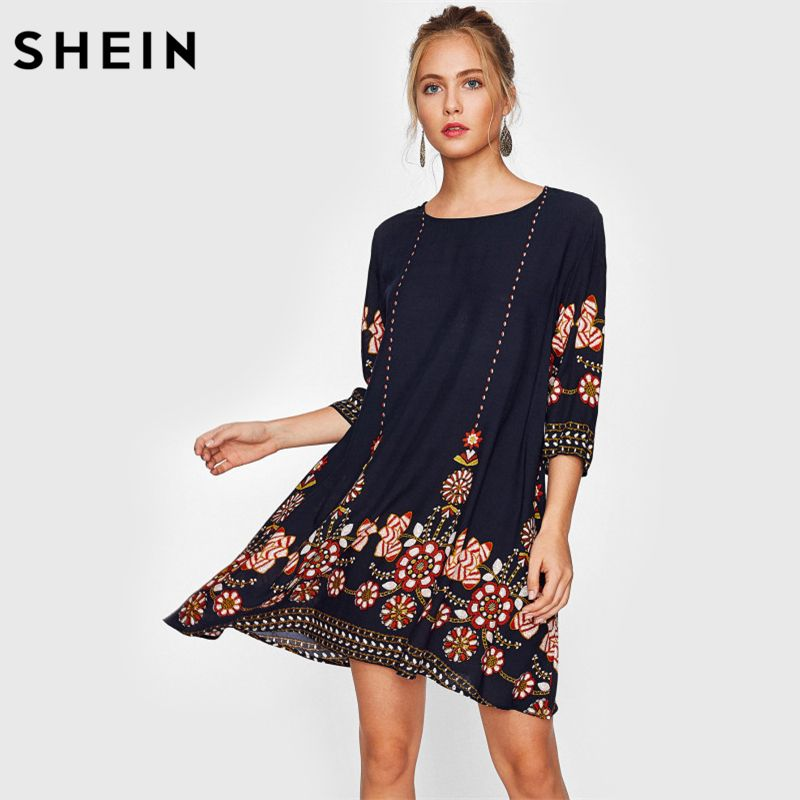 Cheap SHEIN Flower Stampa Flowy Vestito Da Autunno Vestito Da Boho Delle  Signore Navy Tre Quarti 871b465ea82