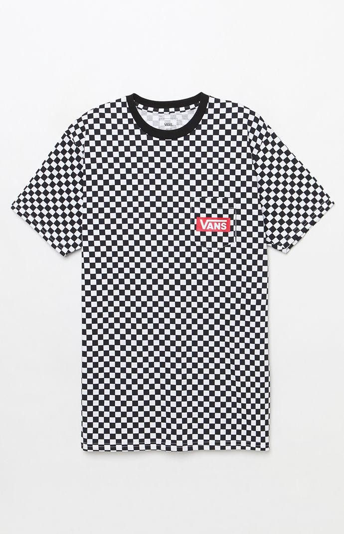 b09e09f729 Vans Checker Print White   Black Pocket T-Shirt by Vans ...