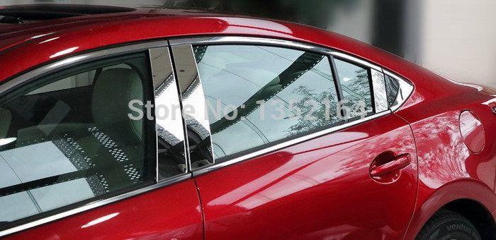 Auto Window Trim Pillar Trim For Mazda 6 Atenza 2014 2015 Stainless Steel 6pcs Lot Free Shipping Window Trim Exterior Accessories Mazda 6