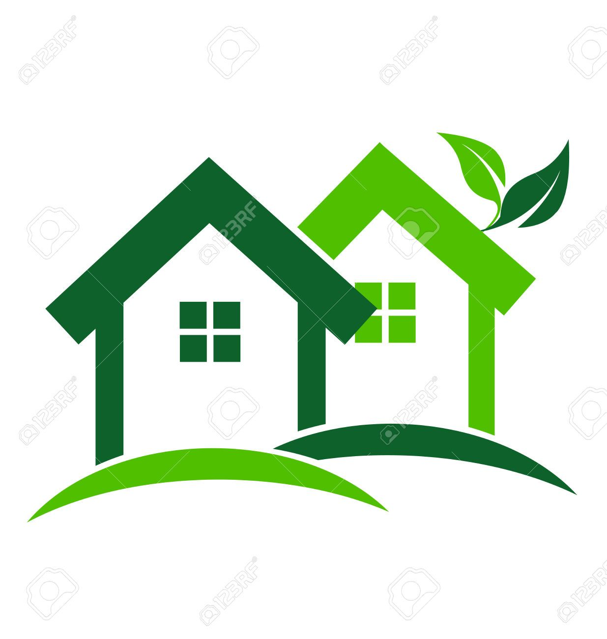 green houses real estate business card design vector icon royalty free cliparts vectors and stock illustration image 35628987  [ 1235 x 1300 Pixel ]