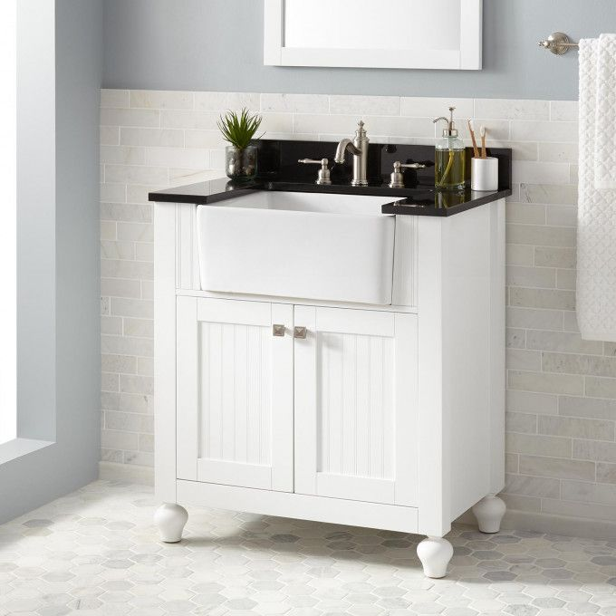 30 Nellie Farmhouse Sink Vanity In White Wood Signature Hardware Farmhouse Sink Vanity Farmhouse Bathroom Sink Bathroom Vanity Designs