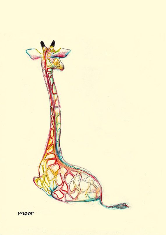NEW Small Greeting Note Card Adorable Giraffe Glasses Rainbow Colorful Nice