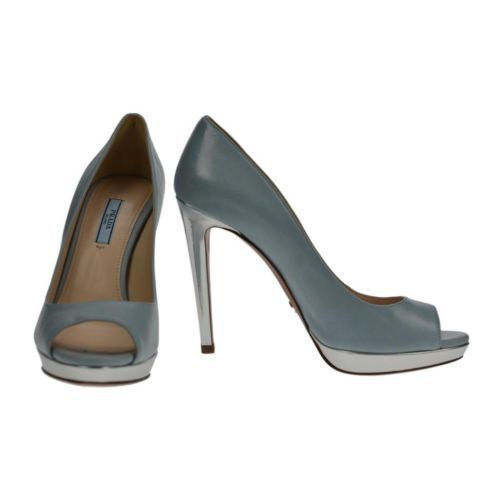 03c7dc88a3cb5 Prada Peep Toe Baby Blue Leather Pumps Stiletto Silver Heel Size 38 5  Authentic | eBay