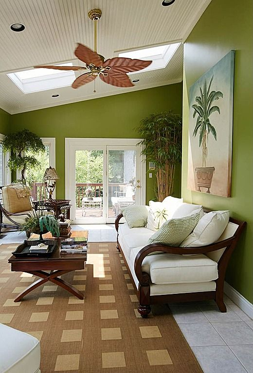 Great Tropical Living Room With French Doors U0026 Ceiling Fan