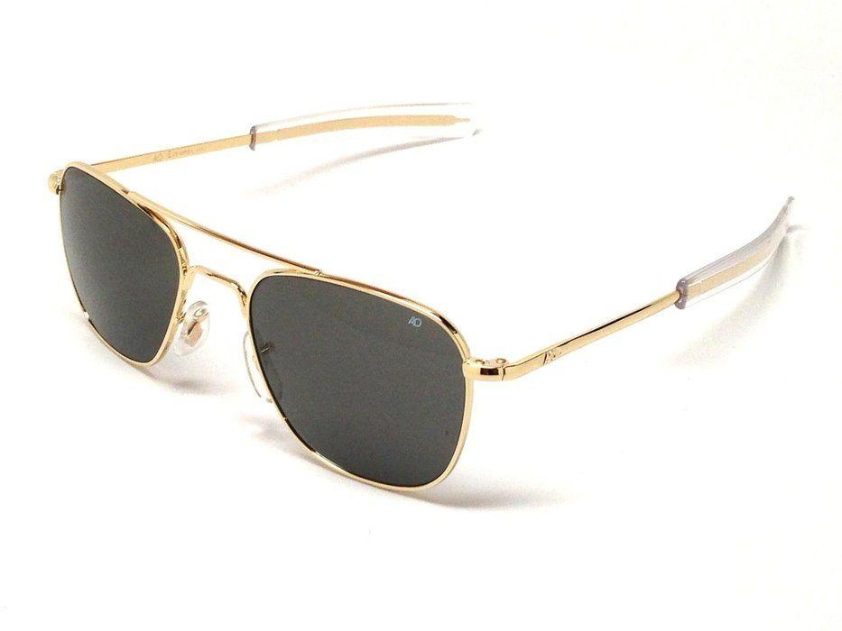 f8b2af31f4 AO American Optical Original Pilot Sunglasses Gold 55mm Bayonet Temples