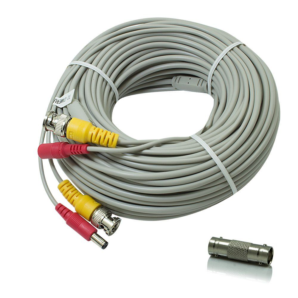 SEECOM 60ft BNC Video And DC Surveillance Cable Pre-made All-in-One ...