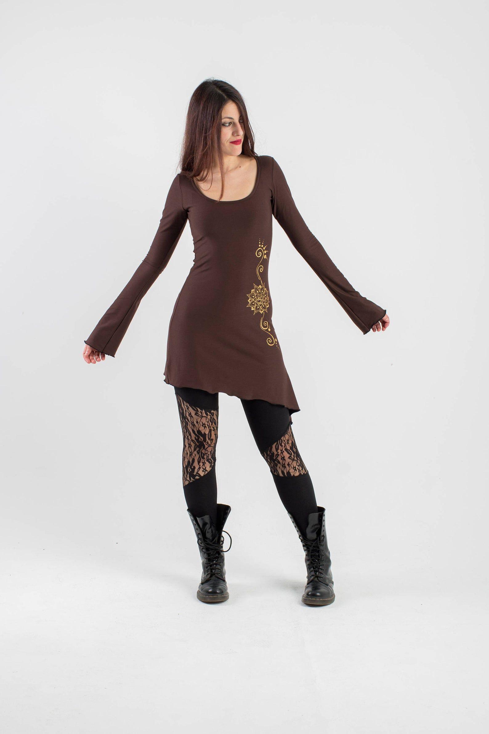 Bordeaux elven asymmetric dress long sleeve tunic dress