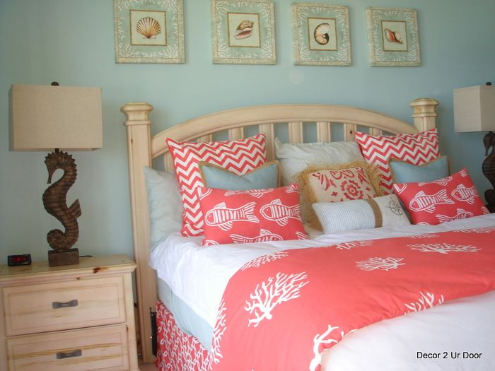 beach theme coral and aqua bliss perfect for beach house, condo, or ...