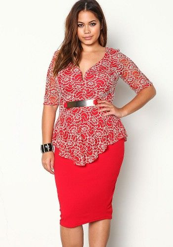 Plus Size Red Floral Lace Waterfall Peplum Dress Httpdebshops