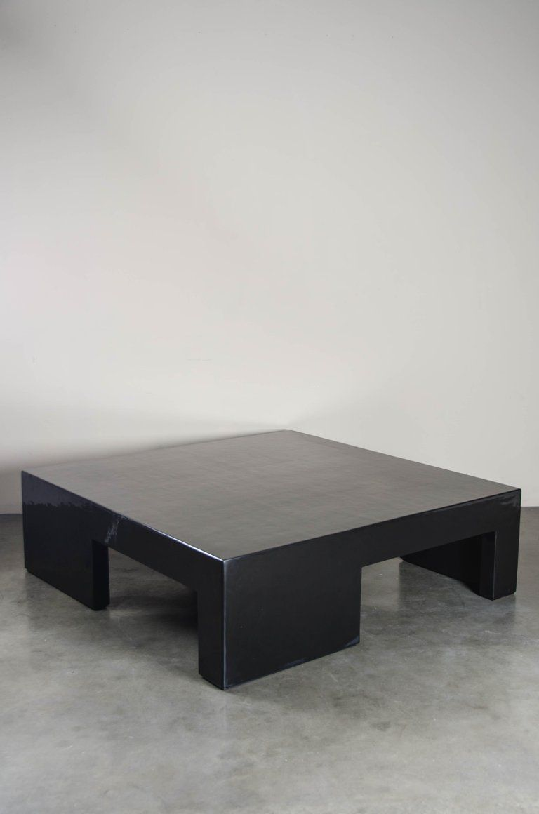 Low Square Table With Alternate Legs Black Lacquer By Robert Kuo