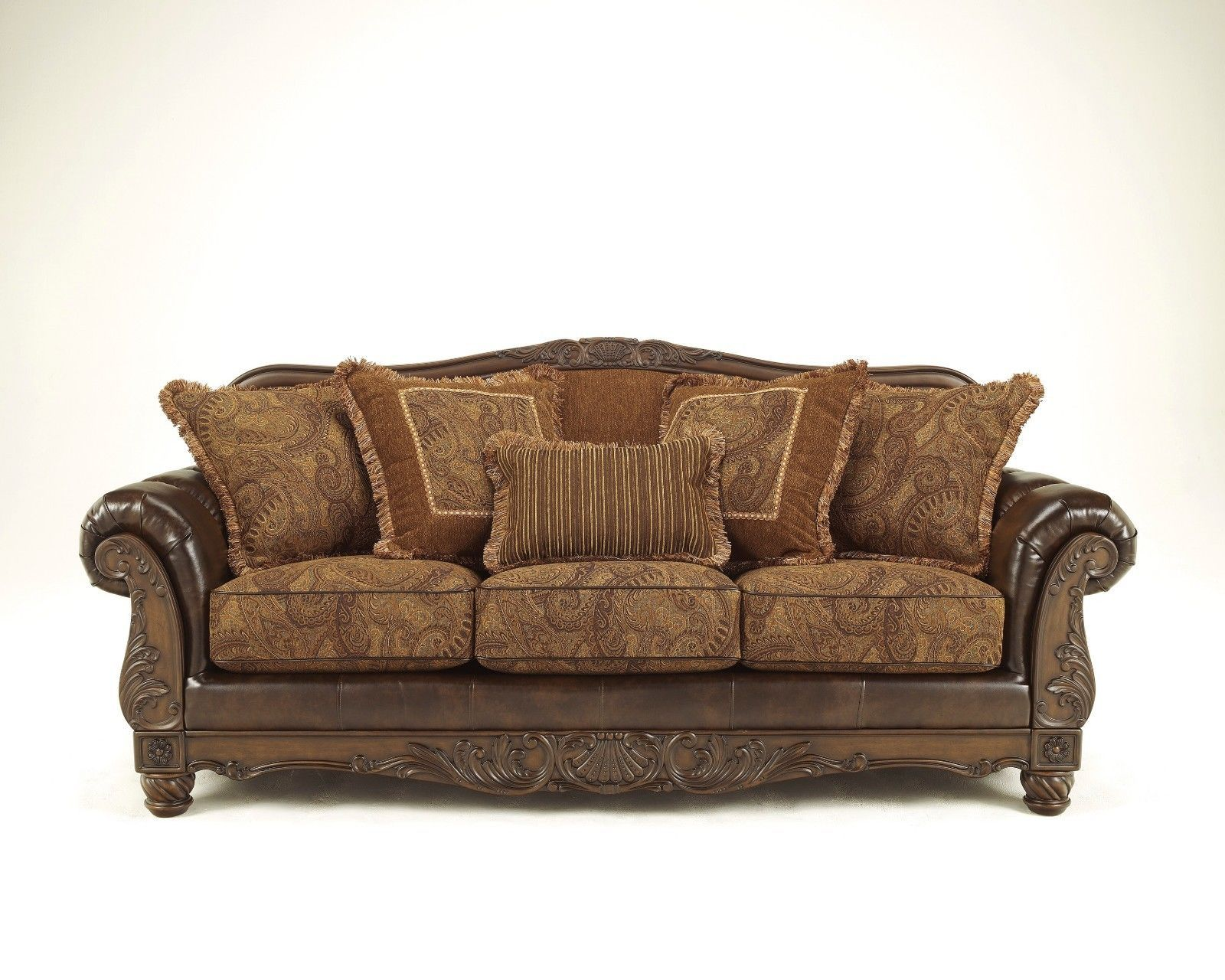 NEW ASHLEY OLD WORLD TRADITIONAL ANTIQUE SOFA COUCH LOVESEAT CHAIR LIVING  ROOM