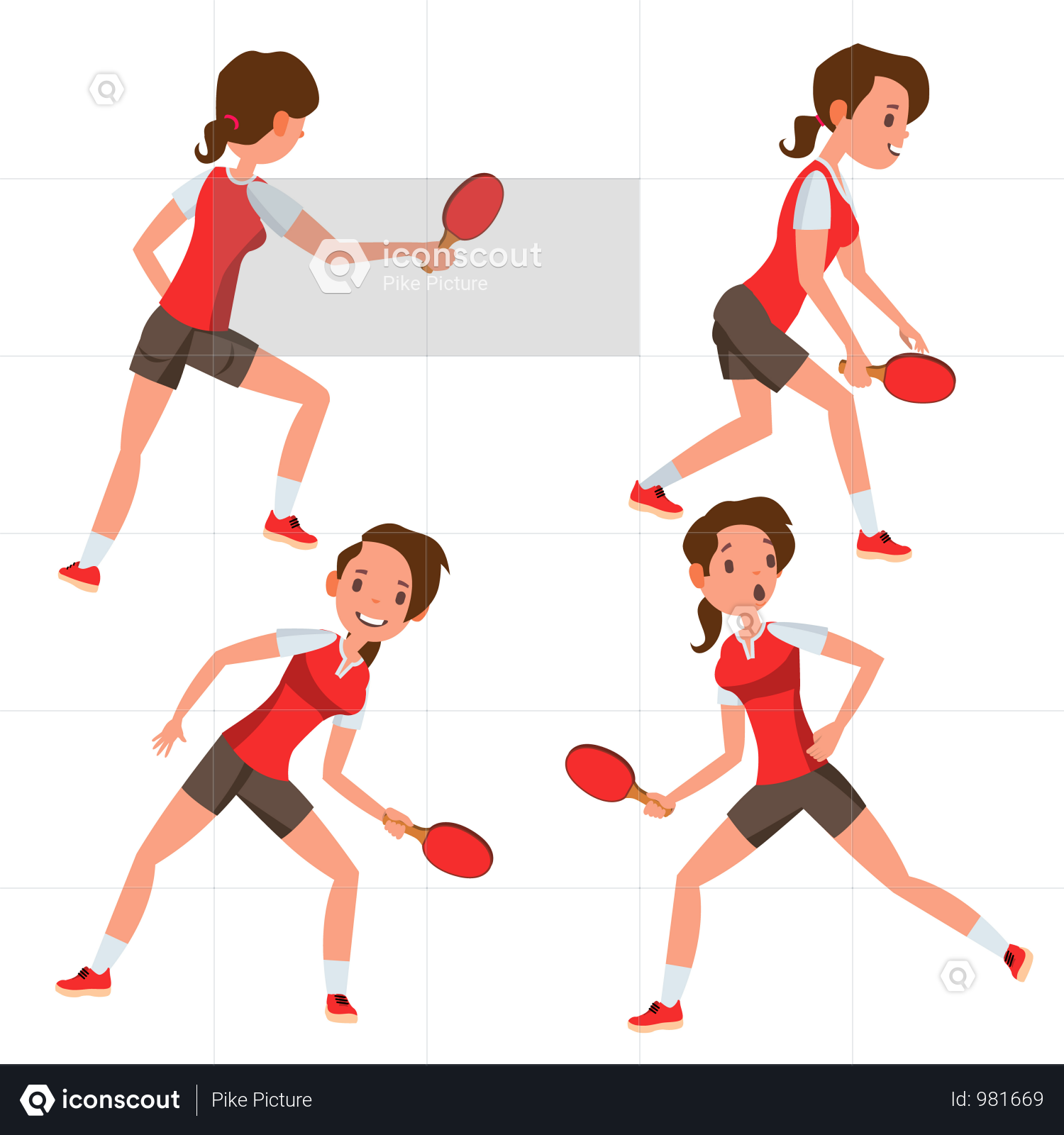Premium Table Tennis Female Player With Playing Gesture Illustration Download In Png Vector Format In 2020 Table Tennis Tennis Players Female Handball Players