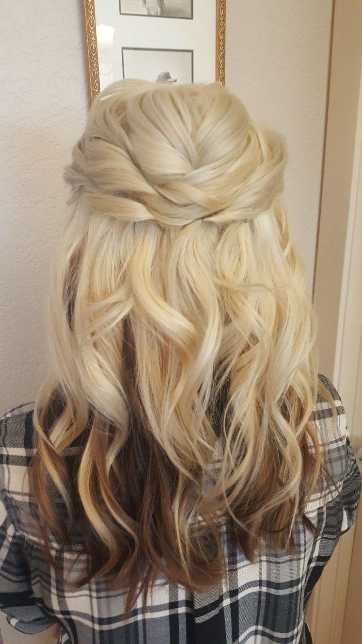 Blonde Medium Length Hair, Half Up Half Down. Wedding Hair ...