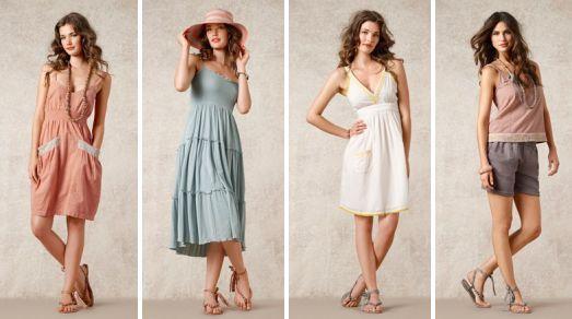 """Kleider, Shorts und Tops in den Farben des Themas """"Cote d`Azur"""" der Sommerkollektion 2012 von Noa-Noa (Quelle: noa-noa.dk)"""