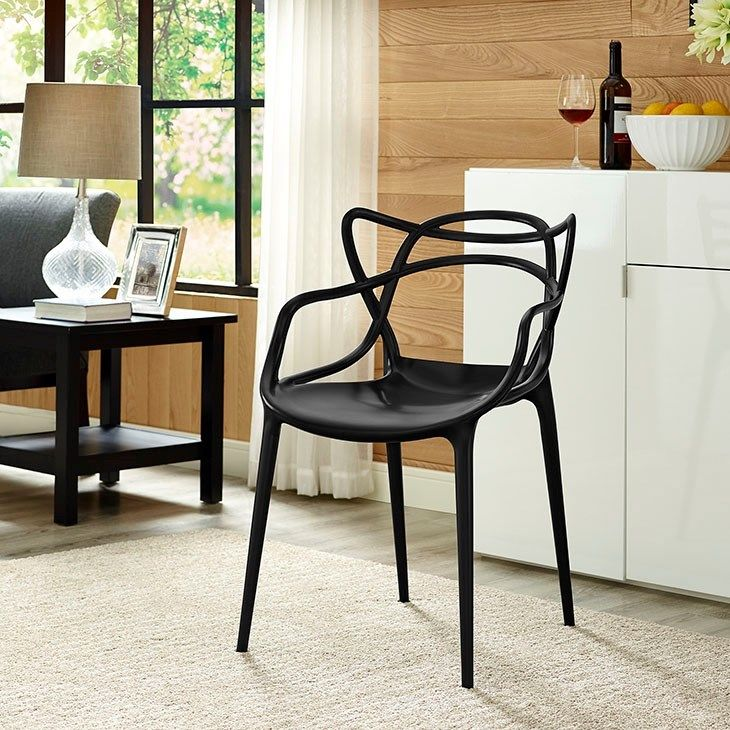 Entangled Dining Armchair in Black Plastic