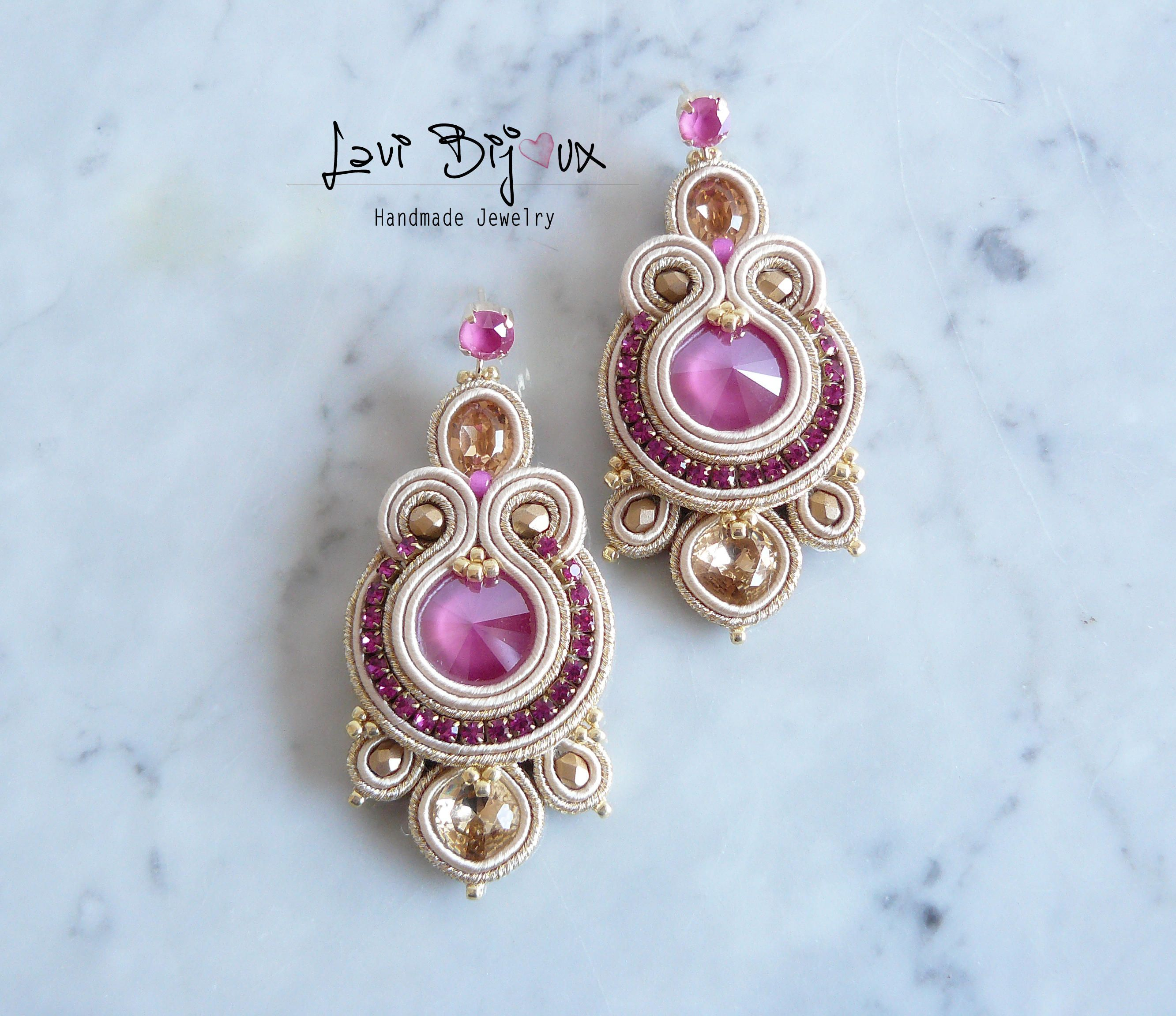 jewellery soutache embroidered hand handmade pin earrings