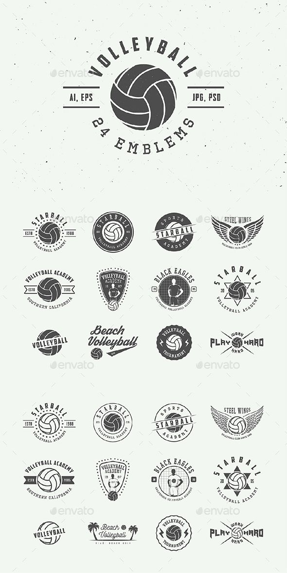 Vintage Volleyball Emblems Templates PSD, Vector EPS, AI