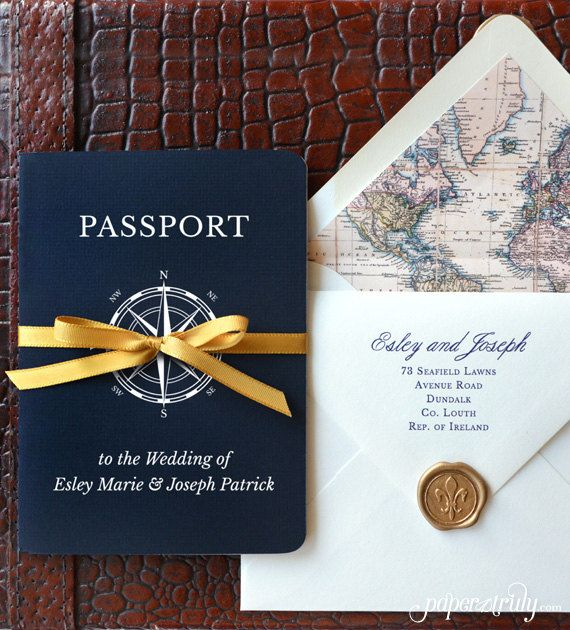 Come Away With Me – Passport Wedding Invitation – SAMPLE ONLY (Price is not full order per unit price, see description)