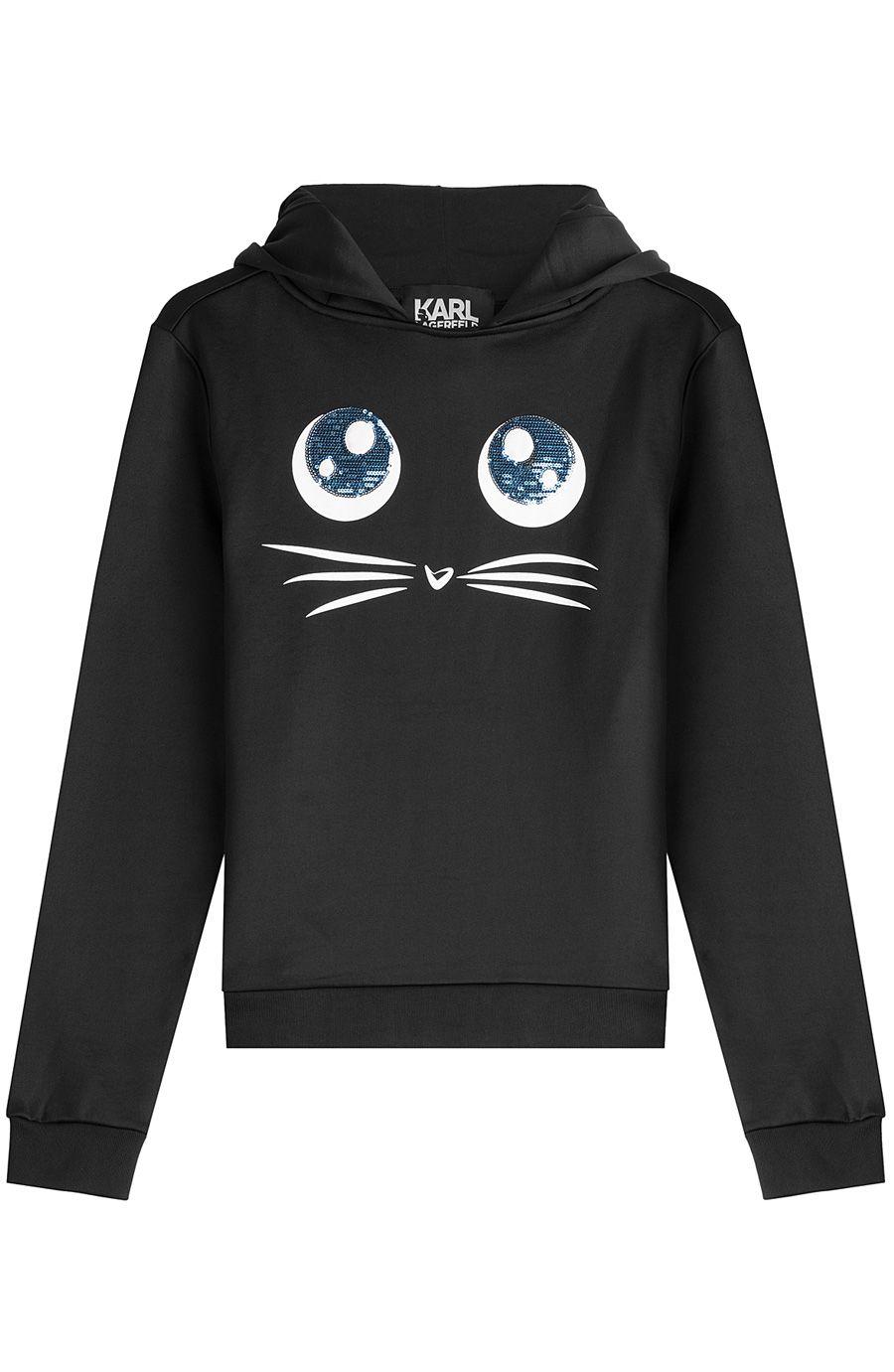 ecfd82a5861 KARL LAGERFELD Choupette Big Eyes Printed Hoody. #karllagerfeld #cloth # sweatshirts