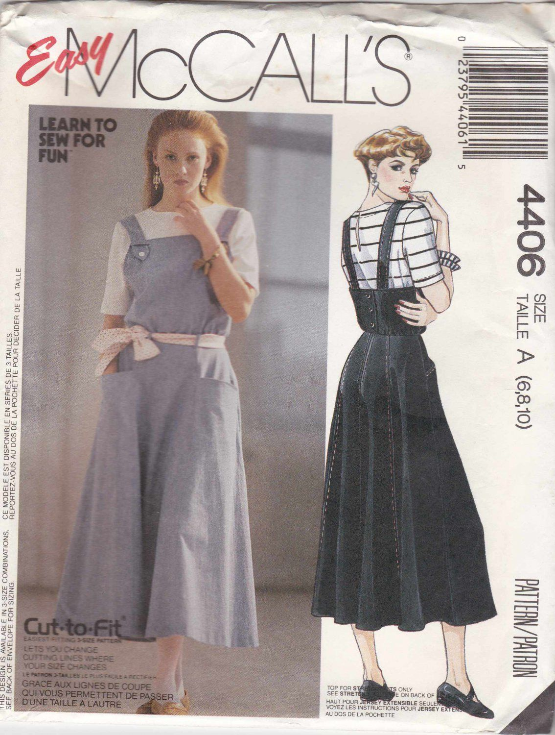 McCalls Sewing Pattern 4406 Misses Size 8-12 Easy Knit Short Sleeve ...