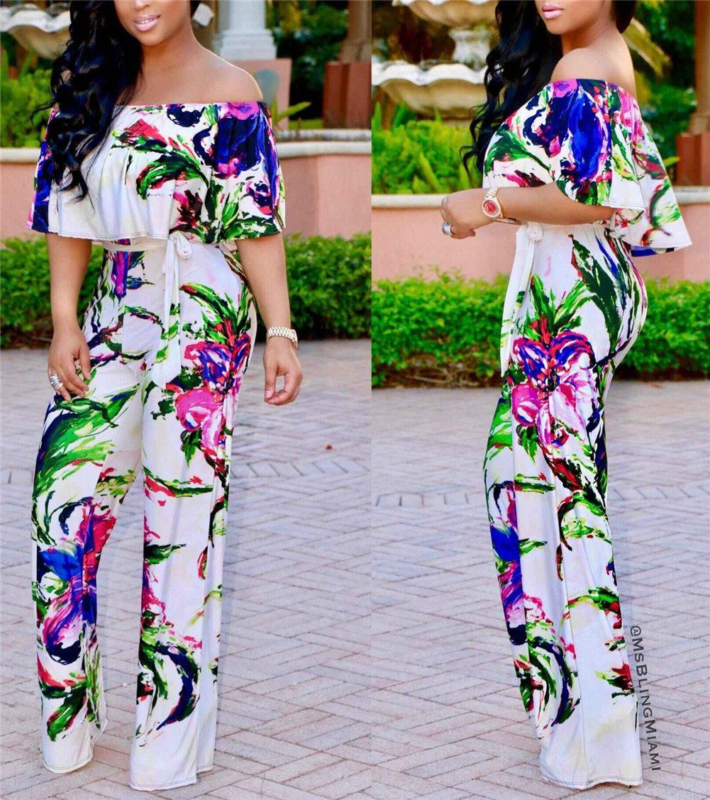 b8a1d77b6df Womens Girls Summer Sexy Off Shoulder Wrapped Boho Maxi Floral Printed Wide  Leg Romper Jumpsuit Long