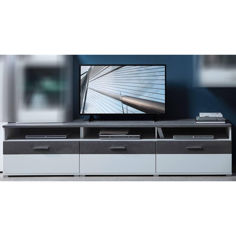 Tv Lowboard Fernsehtisch In Supermatt Weiss Betonoxid Dunkel
