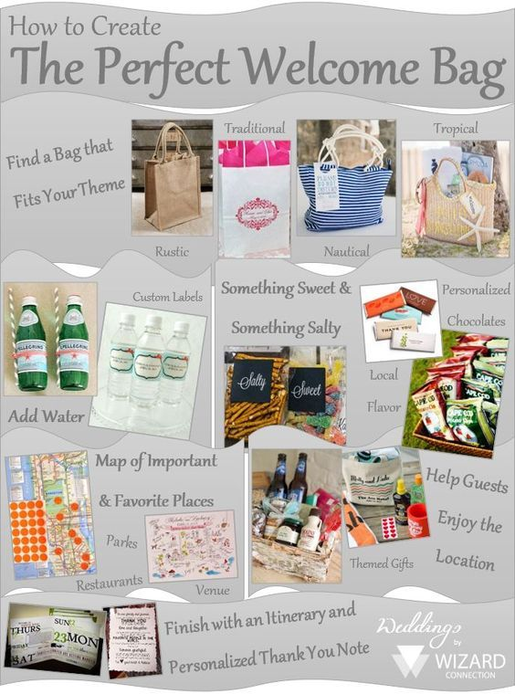 How To Create The Perfect Welcome Bags For Out Of Town Guests Attending Your Wedding Wedding Guest Gift Bag Welcome Bags Wedding Gift Bags